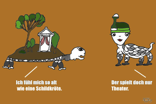 Cartoon: Schildkröten (medium) by zeichenstift tagged schildkröte,theater,alter