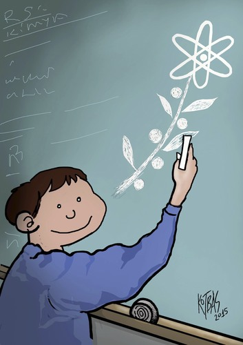 Cartoon: science and peace (medium) by kotbas tagged child,war,school,science,education,peace