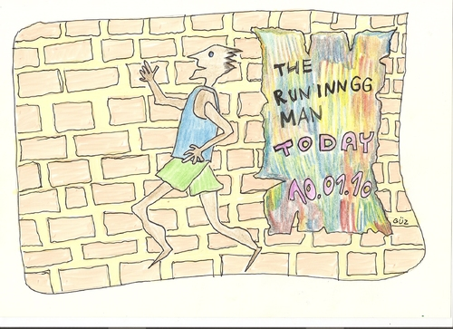 Cartoon: T he R uninngg M an (medium) by skätsch-up tagged man,running,escape,goal,sports,destination