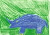 Cartoon: rhino wax blue on green (small) by skätsch-up tagged rhino,blue,green,animal,wax