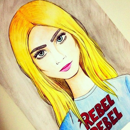 Cartoon: Cara Delevingne (medium) by naths tagged cara,delevingne,model,blonde,fashion,color,watercolor