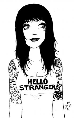 Cartoon: hello stranger (medium) by naths tagged tattoo,girl,attitude