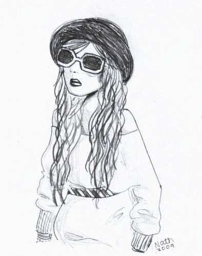Cartoon: Mia (medium) by naths tagged girl,glasses,hat,style