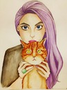 Cartoon: lilac (small) by naths tagged girl,lilac,cat,watercolour