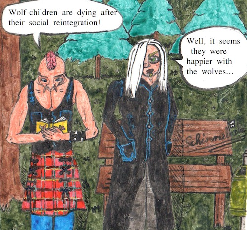 Cartoon: doomsayer - wolf-children (medium) by Schimmelpelz-pilz tagged wolf,child,children,social,reintegration,society,civilization,humanity,human,humans,rule,rules,rehabilitation,resocialization