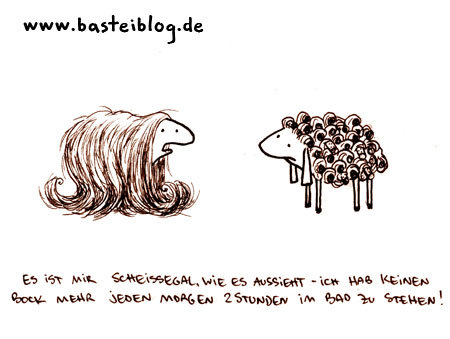 Cartoon: Haare. (medium) by puvo tagged schaf,sheep,hair,haar,locken,curls,beauty,schönheit