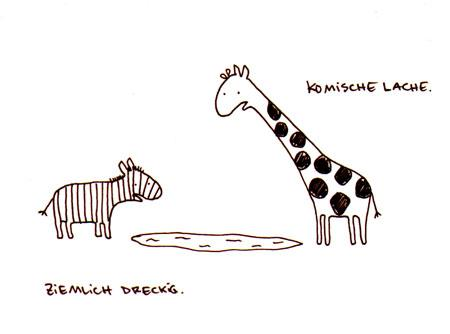 Cartoon: Komische Lache. (medium) by puvo tagged zebra,giraffe,lache,wortspiel