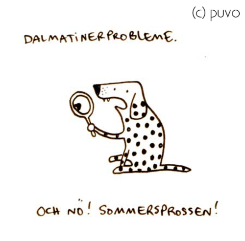 Cartoon: Sommersprossen. (medium) by puvo tagged dalmatiner,sommer,sommersprosse,freckle,summer,dalmation,dog,hund