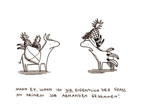 Cartoon: Spaß am Job. (medium) by puvo tagged job,beruf,spaß,frust,obst,banane,ananas,weintraube,esel,frustraition,banana,pineapple,donkey,lasttier,pack,animal,fun,work,fruit,