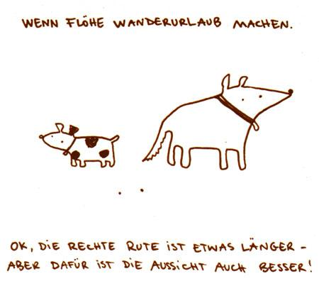 Cartoon: Wenn Flöhe Wanderurlaub machen. (medium) by puvo tagged floh,wandern,hund,urlaub,dog,vacation,hiking,flea