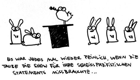 Cartoon: Zaubertaube - Pazifist. (medium) by puvo tagged taube,hase,zauber,ölzweig,frieden,pazifismus