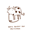 Cartoon: Berta besiegt den Welthunger. (small) by puvo tagged kuh,cow,world,starvation,hunger,welthunger,krise,milch,ernährung,problem,crisis,nutrition