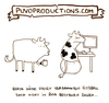 Cartoon: Sitzball. (small) by puvo tagged cow,kuh,sitzball,büro,euter,mann,sitting,breast,ball,boob,frau,udder,busen,brust,belästigung,haressment,office