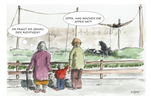 Cartoon: Sonntags im Zoo (medium) by JORI tagged pressecartoon,cartoon,joricartoon,niggemeyer,sonne,wissen,farbcartoon,karikatur,sonntags,zoo,affen,oppa,omma