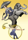 Cartoon: A resilient umbrella (small) by javierhammad tagged elephant,equilibrium,umbrella,circus,surreal