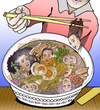 Cartoon: Just add water (small) by javierhammad tagged food,japanese,ramen,canibalism