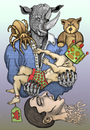 Cartoon: Total submission... (small) by javierhammad tagged illustration,color,draw,surreal,rhino,robot,bear,tarantula,dream,monster,nightmare