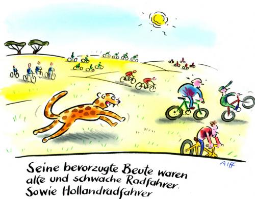 Cartoon: Beute (medium) by Alff tagged bicycle,bikes,park,landscape,biking,animals