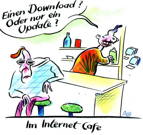 Cartoon: Download oder Update (medium) by Alff tagged computer,hardware,software,it,bar,drinking