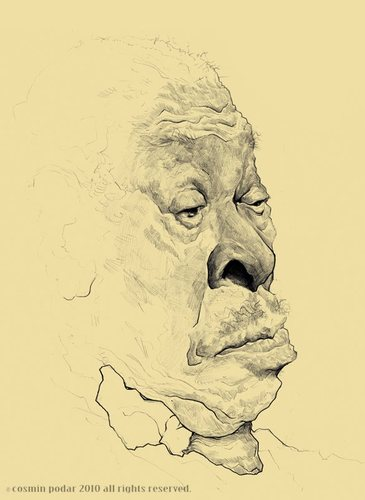 Cartoon: B.B. King sketch and WIP (medium) by cosminpodar tagged drawing,illustration,caricature