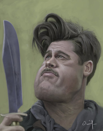 brad pitt profile. Cartoon: Caricature- rad pitt