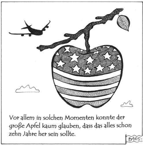 Cartoon: Die Angst des großen Apfels (medium) by BAES tagged center,trade,world,com,toonpool,september11th,cartoons,911,11september,11 september,terror,world trade center,11,september,world,trade,center