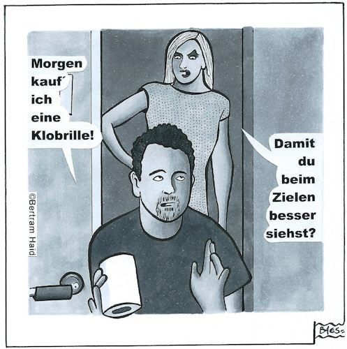 Cartoon: Klobrille (medium) by BAES tagged klo,wc,klorolle,paar,mann,frau,toilette,klo,wc,klorolle,paar,mann,frau,toilette