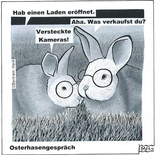 Cartoon: Osterhasengespräch (medium) by BAES tagged hase,osterhase,tier,kamera,versteckt,business,hase,osterhase,tier,kamera,versteckt,business