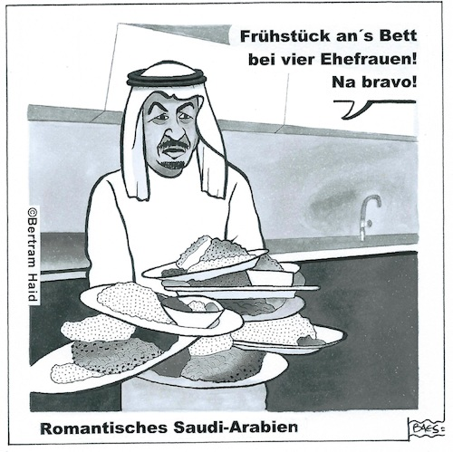 Cartoon: Romantisches Saudiarabien (medium) by BAES tagged mann,frau,saudiarabien,arabien,scheich,emanzipation,patriarchat,frühstück,essen,mann,frau,saudiarabien,arabien,scheich,emanzipation,patriarchat,frühstück,essen