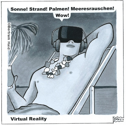 Cartoon: Virtual Reality (medium) by BAES tagged virtuell,realität,daten,sonne,strand,meer,sand,urlaub,online,leben,virtuell,realität,daten,sonne,strand,meer,sand,urlaub,online,leben