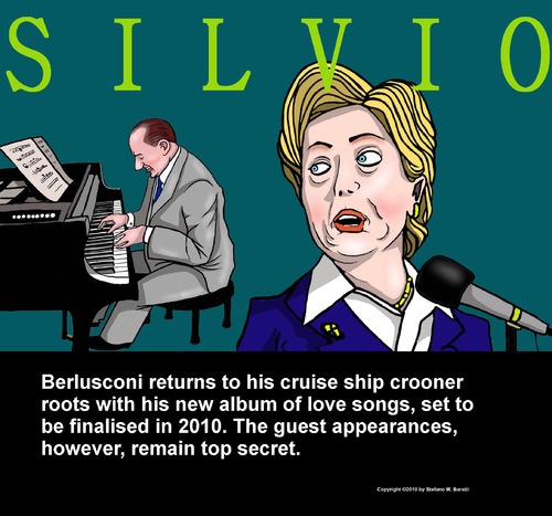 Cartoon: Berlusconi Sings (medium) by perugino tagged berlusconi,silvio berlusconi,italien,musiker,singen,musik,2010,band,hillary clinton,silvio,berlusconi,hillary,clinton