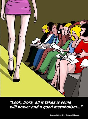 Cartoon: The Catwalk (medium) by perugino tagged anorexia,fashion
