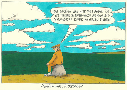Cartoon: 3. oktober (medium) by Andreas Prüstel tagged tagdereinheit,uckermark,merkel,tag der deutschen einheit,uckermark,merkel,tag,der,deutschen,einheit