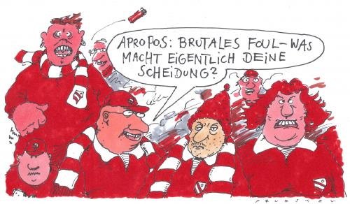 Cartoon: apropos (medium) by Andreas Prüstel tagged ehescheidung,fussballfans