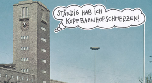 Cartoon: armer bahnhof (medium) by Andreas Prüstel tagged stuttgart21