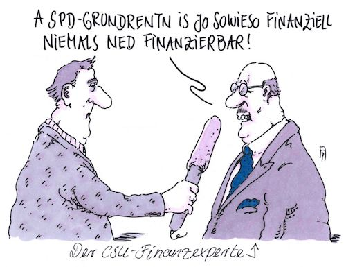 Cartoon: csu-experte (medium) by Andreas Prüstel tagged grundrente,spd,csu,union,finanzen,cartoon,karikatur,andreas,pruestel,grundrente,spd,csu,union,finanzen,cartoon,karikatur,andreas,pruestel