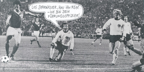 Cartoon: deutsch-deutsches duell (medium) by Andreas Prüstel tagged brd,ddr,fußballweltmeisterschaft,jürgen,sparwasser,torschütze,collage,cartoon,andreas,prüstel,brd,ddr,fußballweltmeisterschaft,jürgen,sparwasser,torschütze,collage,cartoon,andreas,prüstel