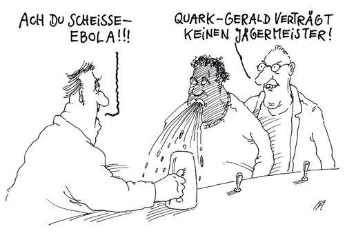 Cartoon: ebola (medium) by Andreas Prüstel tagged ebola,kneipe,jägermeister,cartoon,karikatur,andreas,pruestel,ebola,kneipe,jägermeister,cartoon,karikatur,andreas,pruestel