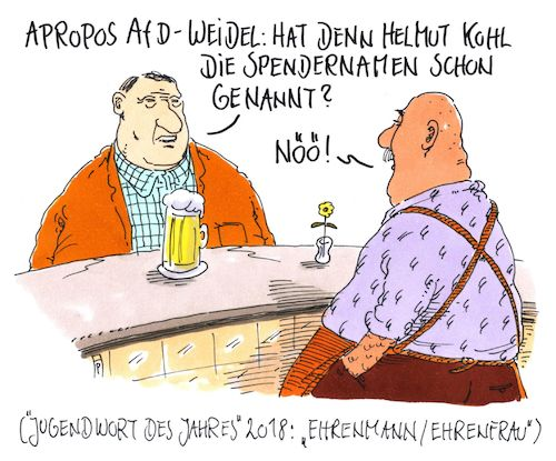 Cartoon: ehrenmann-ehrenfrau (medium) by Andreas Prüstel tagged afd,weidel,spendenaffäre,helmut,kohl,cdu,spendernamen,jugendwort,des,jahres,ehrenmann,ehrenfrau,cartoon,karikatur,andreas,pruestel,afd,weidel,spendenaffäre,helmut,kohl,cdu,spendernamen,jugendwort,des,jahres,ehrenmann,ehrenfrau,cartoon,karikatur,andreas,pruestel