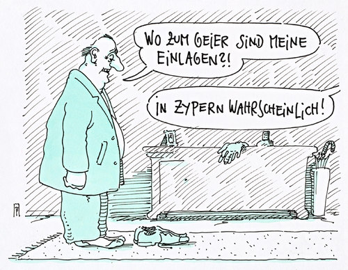 Cartoon: einlagen (medium) by Andreas Prüstel tagged zypern,staatsbankrott,spareinlagen,bankkunden,eu,kleinsparer,kleinanleger,zypern,staatsbankrott,spareinlagen,bankkunden,eu,kleinsparer,kleinanleger