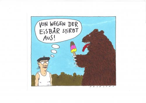 Cartoon: eisbär (medium) by Andreas Prüstel tagged bär,klima,speiseeis