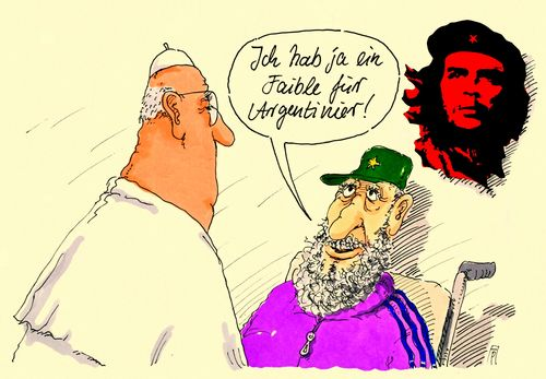 Cartoon: faible (medium) by Andreas Prüstel tagged papstbesuch,cuba,franziskus,fidel,castro,che,argentinier,argentinien,cart5oon,karikatur,andreas,pruestel,papstbesuch,cuba,franziskus,fidel,castro,che,argentinier,argentinien,cart5oon,karikatur,andreas,pruestel