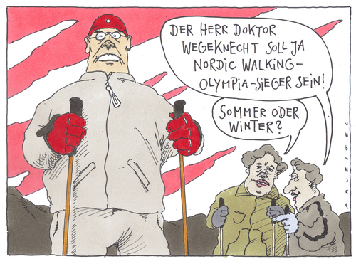 Cartoon: im gelände (medium) by Andreas Prüstel tagged nordic,walking,olympia,nordic walking,olympia,olympische spiele,sport,fitness,trend,nordic,walking,olympische,spiele