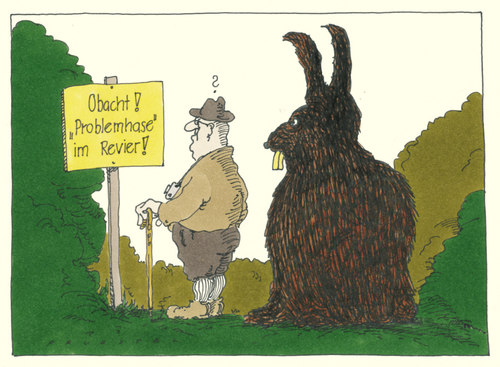 Cartoon: in wald und flur (medium) by Andreas Prüstel tagged wald,hase,mutationen,wanderer,urlaub,naturfreund,warnschild,klimawandel,cartoon,karikatur,andreas,pruestel,wald,hase,mutationen,wanderer,urlaub,naturfreund,warnschild,klimawandel,cartoon,karikatur,andreas,pruestel