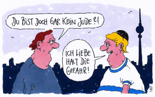 Cartoon: kein jude (medium) by Andreas Prüstel tagged antisemitismus,deutschland,berlin,juden,kippa,angriffe,cartoon,karikatur,andreas,pruestel,antisemitismus,deutschland,berlin,juden,angriffe,cartoon,karikatur,andreas,pruestel
