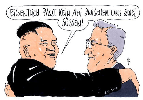 Cartoon: koreaner (medium) by Andreas Prüstel tagged nordkorea,südkorea,kim,jong,un,moon,jae,in,trump,treffen,cartoon,karikatur,andreas,pruestel,nordkorea,südkorea,kim,jong,un,moon,jae,in,trump,treffen,cartoon,karikatur,andreas,pruestel