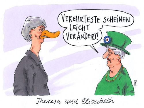 Cartoon: lame duck may (medium) by Andreas Prüstel tagged großbritannien,parlamentswahlen,theresa,may,tories,verluste,queen,brexit,cartoon,karikatur,andreas,pruestel,großbritannien,parlamentswahlen,theresa,may,tories,verluste,queen,brexit,cartoon,karikatur,andreas,pruestel