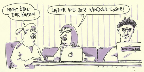 Cartoon: loser (medium) by Andreas Prüstel tagged windows,apple,computer,laptop,windows,apple,computer,laptop,technik,technologie,verlierer,gewinner