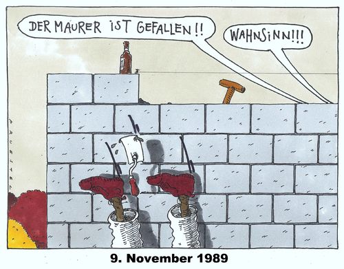 Cartoon: mauerfall (medium) by Andreas Prüstel tagged ddr,berliner,mauer,mauerfall,neunter,november,1989,maurer,wahnsinn,cartoon,karikatur,andreas,pruestel,ddr,berliner,mauer,mauerfall,neunter,november,1989,maurer,wahnsinn,cartoon,karikatur,andreas,pruestel