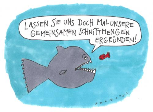 Cartoon: schnittmengen (medium) by Andreas Prüstel tagged partnerschaft,fische